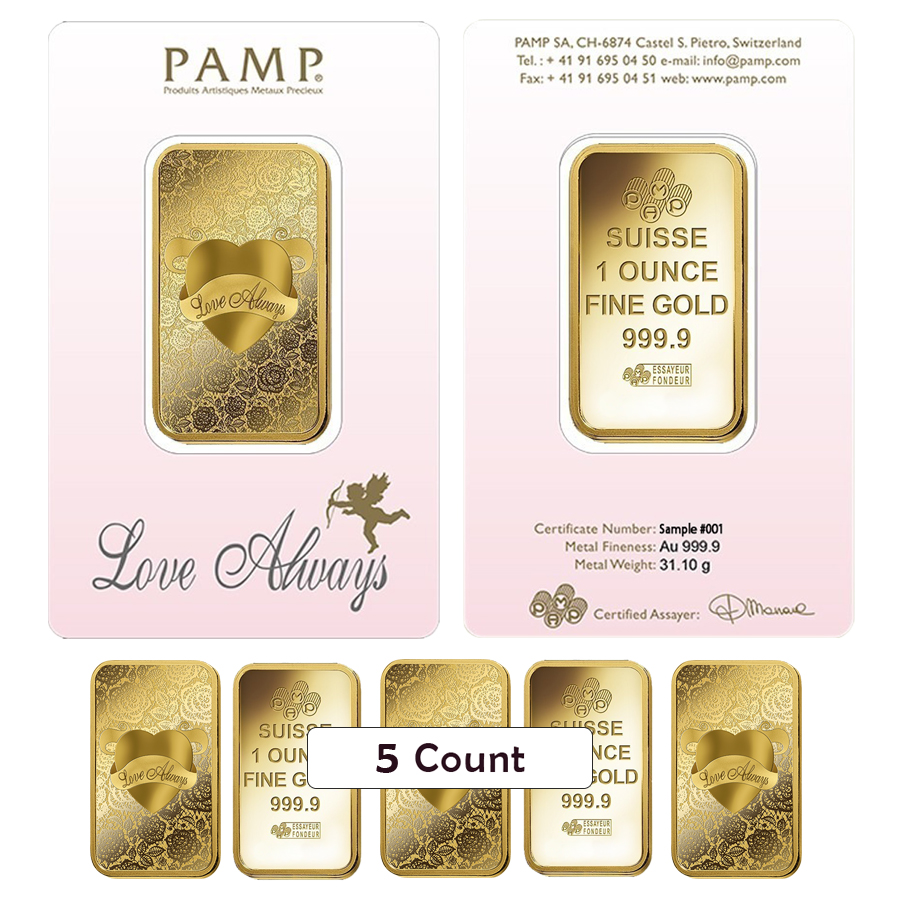 Lot Of 5 1 Oz Pamp Suisse Gold Bar Love Always In