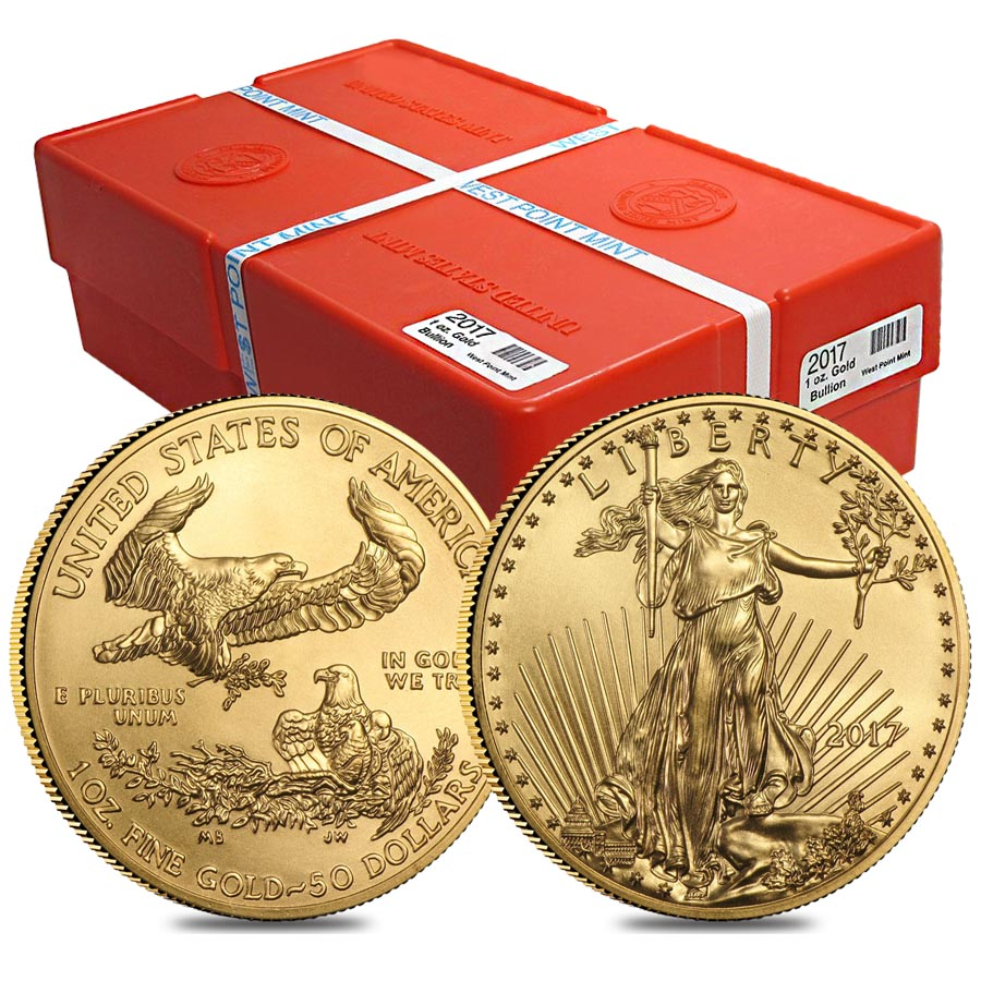 Monster Box Of 500 2017 1 Oz Gold American Eagle 50 Coin Bu 25