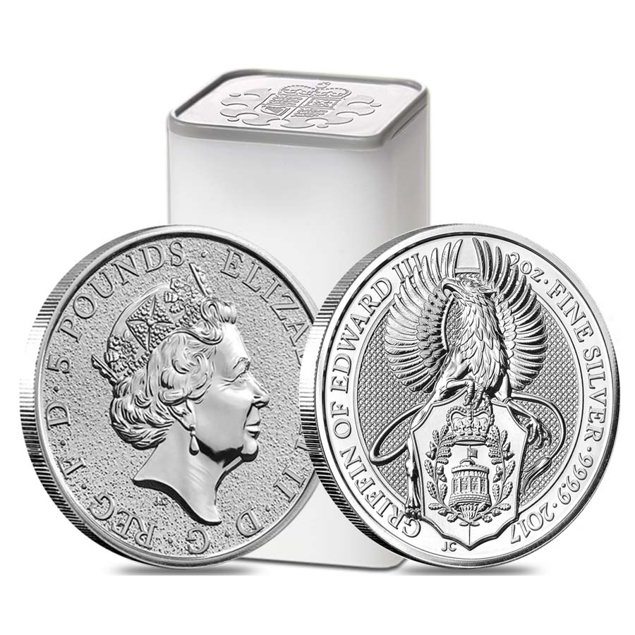Roll Of 10 2017 Great Britain 2 Oz Silver Queen S Beast