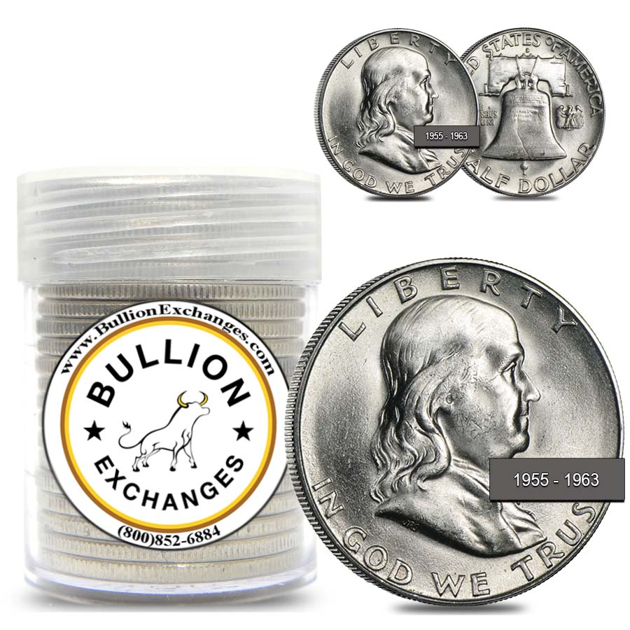 Franklin Half Dollars 20 Coin Roll 90/% Silver Mixed Dates