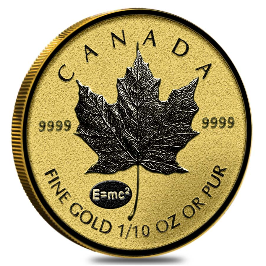 2015 1 10 Oz Gold Canadian Maple Leaf E Mc2 Privy Reverse