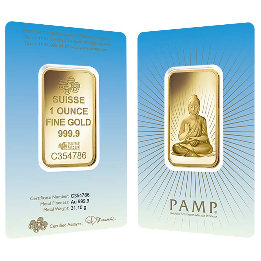1 Oz Pamp Suisse Gold Bar Buddha In Assay 9999 Fine
