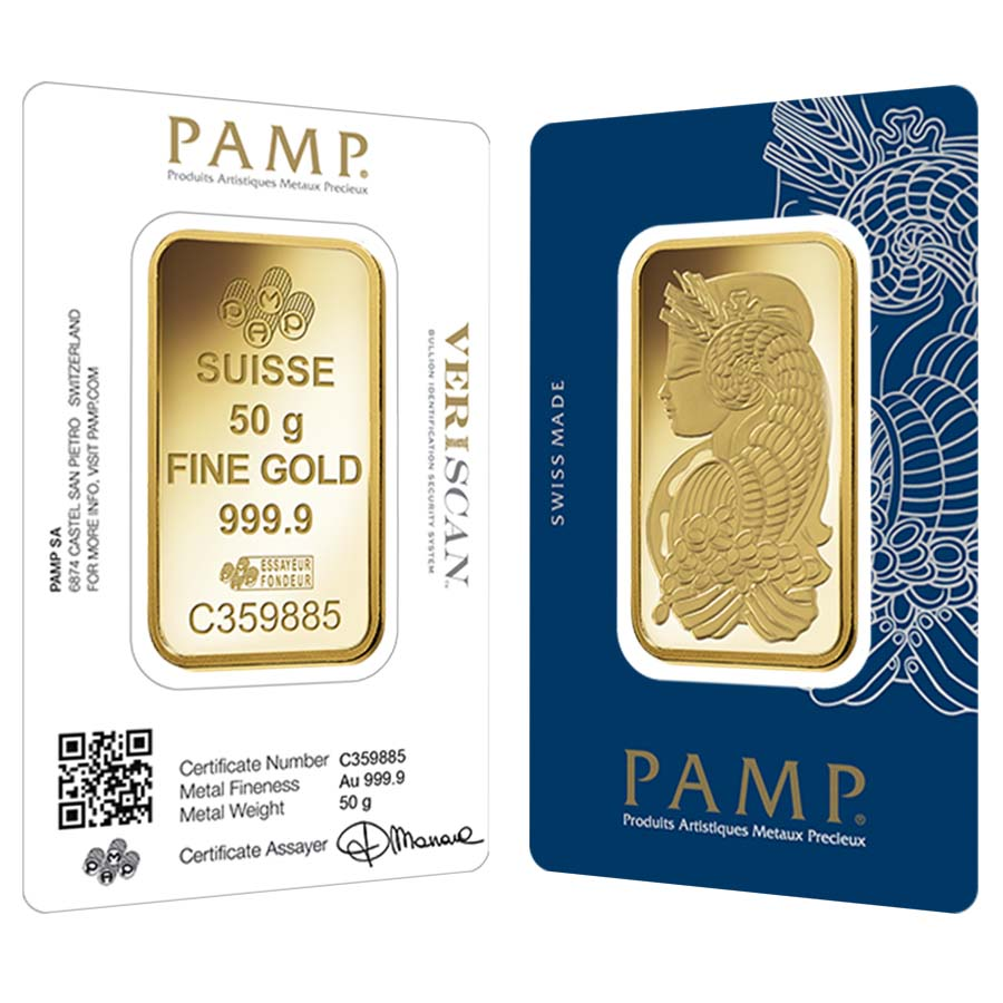 50 Gram Gold Bar Pamp Suisse Lady Fortuna Veriscan 9999