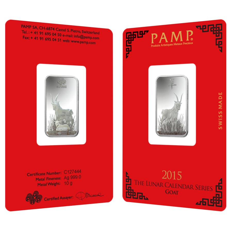 10 Gram Pamp Suisse Year Of The Goat Silver Bar In Assay