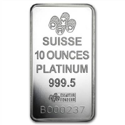 10 oz PAMP Suisse Lady Fortuna Platinum Bar .999+ Fine (In Assay)