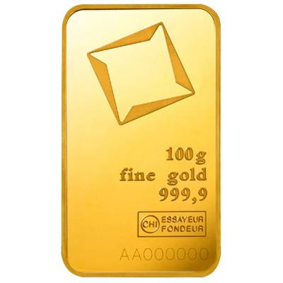 100 gram Gold Bar Valcambi Suisse .9999 Fine (In Assay)