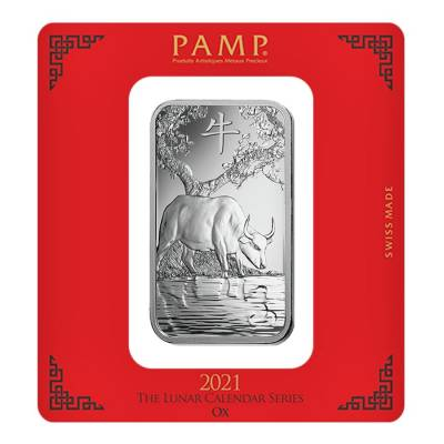 100 gram PAMP Suisse Year of the Ox Silver Bar (In Assay)