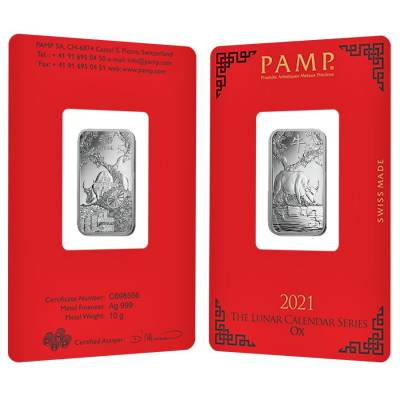 10 gram PAMP Suisse Year of the Ox Silver Bar (In Assay)