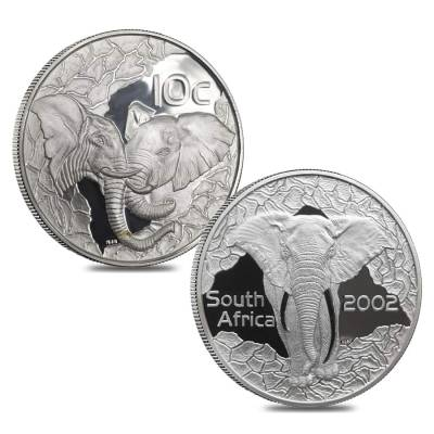 1996 1/4 oz Gold South Africa Natura Elephant and 2002 Silver Elephant Proof 5-coin Set (w/Box & COA)