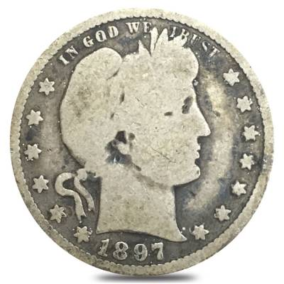 1897-S Barber Quarter 90% Silver Coin (Circulated)