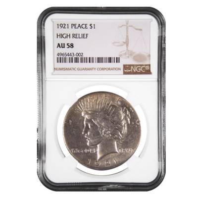 1921 Silver Peace Dollar High Relief NGC AU 58