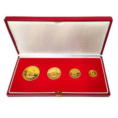 1987 1.85 oz South African Krugerrand Gold 4-Coin Proof Set (w/Box & COA)