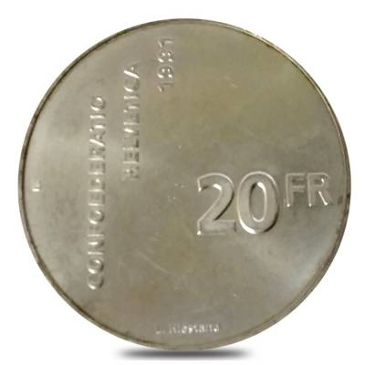 1991 B Swiss Silver 20 Francs 700 Years of Confederation ASW .5369 oz (Secondary Market)