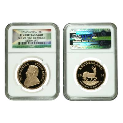 2014 1.85 oz Proof Gold South African Krugerrand 4-Coin Set NGC PF 70 UCAM First Struck (w/Box & COA)