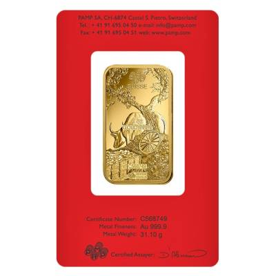 1 oz PAMP Suisse Year of the Ox Gold Bar (In Assay)