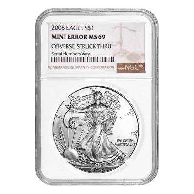 2005 1 oz Silver American Eagle NGC MS 69 Mint Error (Obv Struck Thru)