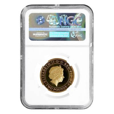 2008 Great Britain Proof Gold 2 Pounds Olympics Handover NGC PF 70 UCAM