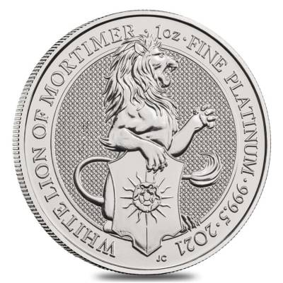 2021 Great Britain 1 oz Platinum Queen's Beasts White Lion of Mortimer Coin .9995 Fine BU