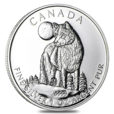 2011 1 oz Silver Canadian Wolf - Wildlife Series BU