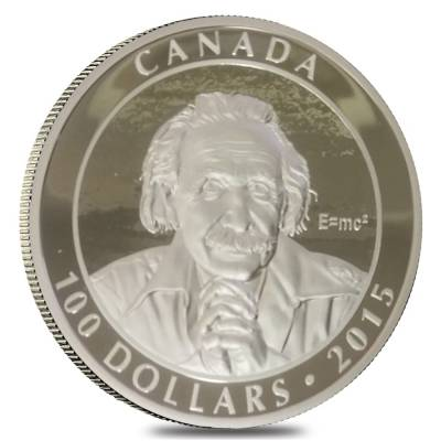 2015 10 oz Canadian Albert Einstein Theory of Relativity $100 Silver Coin Off Quality (In Cap)
