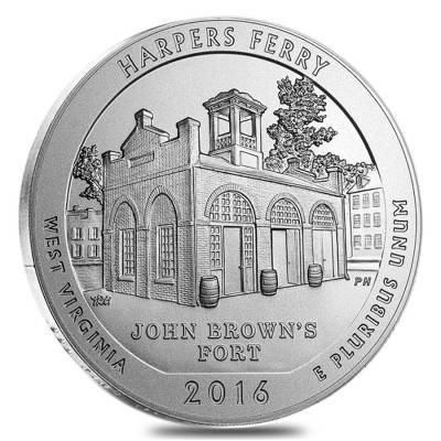 2016-P 5 oz Silver America the Beautiful ATB West Virginia Harpers Ferry National Park Unc Coin (w/Box & COA)