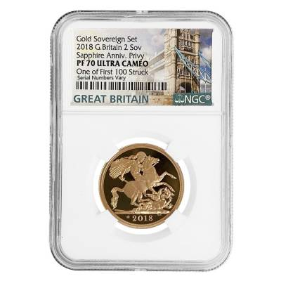2018 Great Britain Proof Gold British 2 Sovereign Sapphire Anniv. Privy NGC PF 70 UCAM