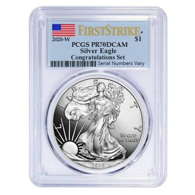 2020-W 1 oz Proof Silver American Eagle Congratulations Set PCGS PF 70 DCAM First Strike