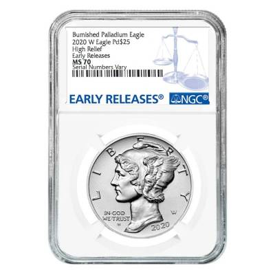 2020-W 1 oz Burnished Palladium American Eagle NGC MS 70 ER