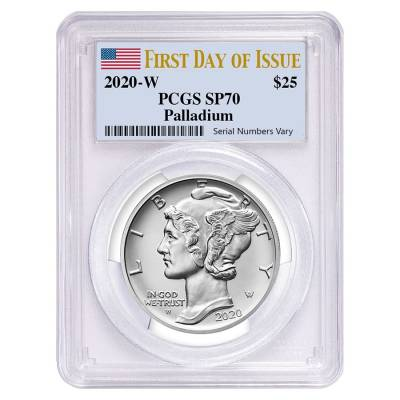 2020-W 1 oz Burnished Palladium American Eagle PCGS SP 70 FDOI