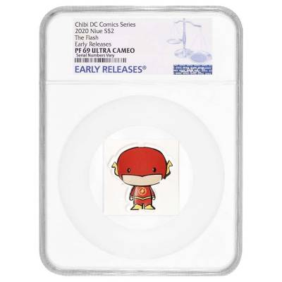 2020 1 oz Colorized Silver DC Comics - The Flash - Niue Chibi Coin Collection NGC PF 69 UCAM ER