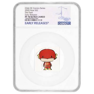 2020 1 oz Colorized Silver DC Comics - The Flash - Niue Chibi Coin Collection NGC PF 70 UCAM ER
