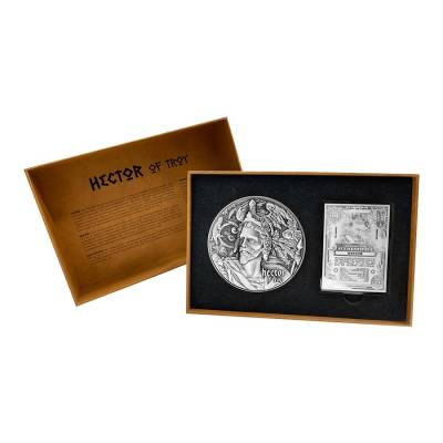 2020 2 oz Silver Niue Hector of Troy - Nine Worthies Series Antiqued High Relief $5 Coin (w/Box & COA)