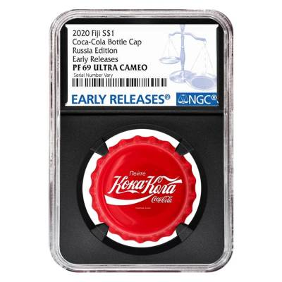 2020 6 gram Fiji Coca-Cola Russia Bottle Cap $1 Proof Silver Coin NGC PF 69 Early Releases (Retro)