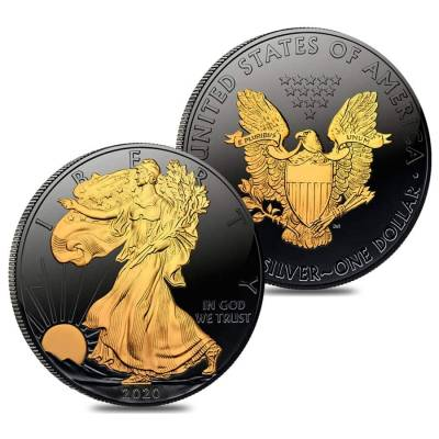 2020 1 oz Silver American Eagle $1 Coin Black Ruthenium 24K Gold Edition (w/Box & COA)