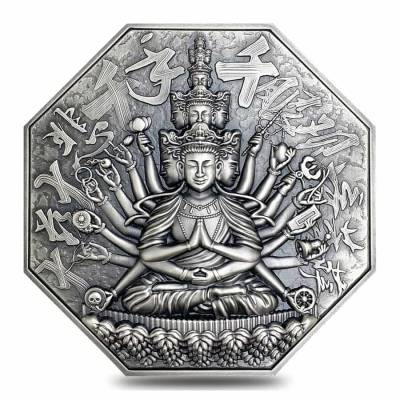 2020 5 oz Silver Niue Goddess of Mercy - Eight Protectors Series Antiqued High Relief $10 Coin (w/Box & COA)