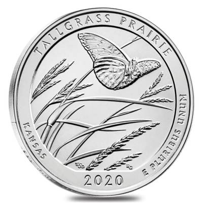 2020 5 oz Silver America the Beautiful ATB Kansas Tallgrass Prairie National Preserve Coin