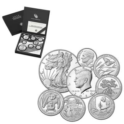 2020 S 2.5 oz US Mint Limited Edition Proof Silver 8-Coin Set .999 Fine (w/Box and COA)