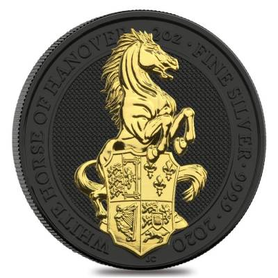 2020 Great Britain 2 oz Silver Queen's Beasts White Horse of Hanover Coin .9999 Fine Black Ruthenium 24K Gold Edition (w/Box & COA)