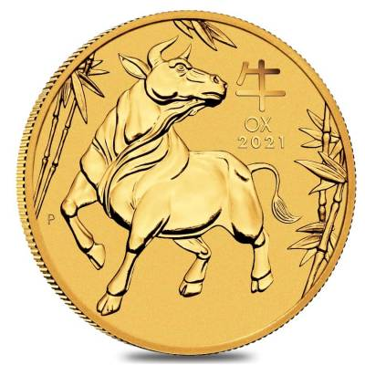 2021 1/20 oz Gold Lunar Year of The Ox BU Australia Perth Mint In Cap