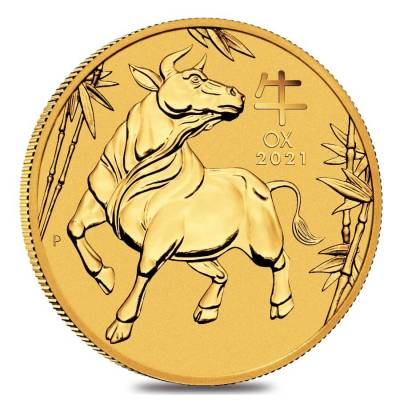 2021 1/4 oz Gold Lunar Year of The Ox BU Australia Perth Mint In Cap