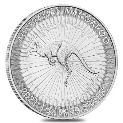 Roll of 25 - 2021 1 oz Australian Silver Kangaroo Perth Mint Coin .9999 Fine BU (Tube, Lot of 25)