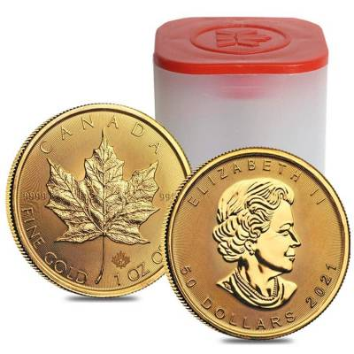 2021 1 oz Canadian Gold Maple Leaf $50 Coin .9999 Fine BU