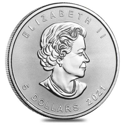 2021 1 oz Silver Canadian Maple Leaf .9999 Fine $5 Coin BU