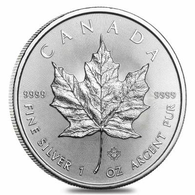 Roll of 25 - 2021 1 oz Canadian Silver Maple Leaf .9999 Fine $5 Coin BU (Lot, Tube of 25)
