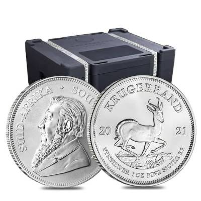 Roll of 25 - 2021 South Africa 1 oz Silver Krugerrand BU (Tube, Lot of 25)