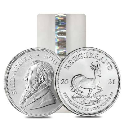 Monster Box of 500 - 2021 South Africa 1 oz Silver Krugerrand BU (20 Roll, Tube, Lot of 25)