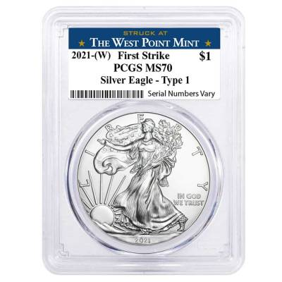 2021 (W) 1 oz Silver American Eagle $1 Coin PCGS MS 70 First Strike (West Point)