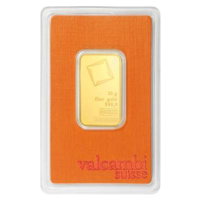 20 gram Gold Bar Valcambi Suisse .9999 Fine (In Assay)