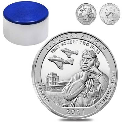 Roll of 10 - 2021 5 oz Silver America the Beautiful ATB Alabama Tuskegee Airmen National Historic Site Coin (Tube, Lot of 10)