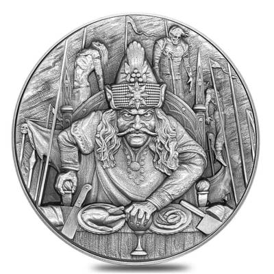 2020 2 oz Silver Niue Vlad The Impaler Antiqued High Relief $5 Coin (w/Box & COA)